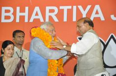 BJP President Rajnath Singh warmly welcomed BJP Prime Ministerial Candidate Narendra Modi after the Parliamentary meeting organized at party head quarter in Delhi.
