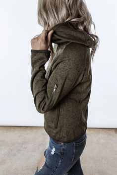 olive hooded fleece jacket featuring a warm knit and zip-pocket detailing  on the sleeve 9971cf4d70