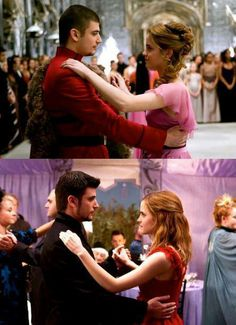 Hermione & Victor at the Yule Ball and Bill and Fleur's wedding