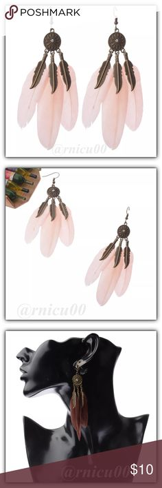 🆕Boho Feather Flower Festival Ready Drop Earrings New Today & May be 1 of my new Fave Feather Earrings!💓Get Festival Ready & Get all your Boho Accessories Here!!📿 Feather, Bead & Tassel Earrings are a TOP TREND this Year! Will match any Festival Dress with Nude/Peach/Light Pink Feathers, Bronze Flower with Rhinestone & Feather Dangle Charms! Adorable! 🕶 Hook Style for pierced ears; Not heavy at all👌3rd pic to show worn  *NO TRADES *Prices are FIRM-Listed at Lowest Price Unless BUNDLED…