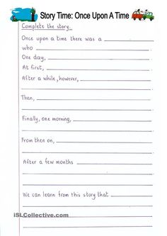 Read and Complete - Once Upon a Time (story writing) worksheet - Free ESL printable worksheets made by teachers Creative Writing Worksheets, English Creative Writing, English Writing Skills, Creative Writing Prompts, Preschool Worksheets, Printable Worksheets, Graphing Worksheets, Free Printable, 3rd Grade Writing