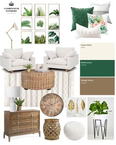 As I put this Mood Board together, I am dreaming of relaxing in this small seating corner of a room that overlooks a view of the ocean, basking in the fresh scent of the clean ocean air as the wind ge Tropical Bedrooms, Tropical Home Decor, Tropical Interior, Tropical Living Rooms, Mood Board Interior, Interior Design Boards, Moodboard Interior Design, Boho Living Room, Living Room Decor