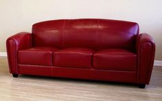 Wholesale Interiors 3007-067-Red-Sofa Red Leather Sofa