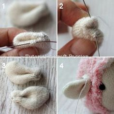 sew sock sheep ears. This would work for any stuffed animal ears.