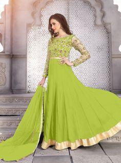buy online Parrot colour Georgette fabric designer Anarkali suit at joshindia Bollywood Dress, Pakistani Dresses, Indian Dresses, Indian Outfits, Indian Clothes, New Suit Design, Latest Suit Design, Punjabi Suits Party Wear, Patiyala Dress