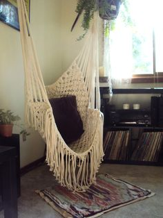 my beautiful hammock chair featured on the announcement of the opening of my Etsy shop! $90
