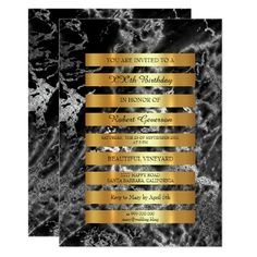 Minimal Luxury Gold Stripes Black Marble Silver 13 Cm X 18 Cm Invitation Card
