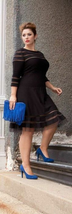 I'd totally accent this dress with red or yellow! Not a blue shaggy purse lol