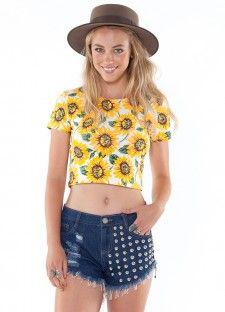 Florida Shorts Rebel Princess | sunflower, crop top, festival, boho, bohemian, stud shorts, silver, grunge, denim cutoffs