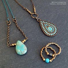 Turquoise & bronze tones make a lovely match Costume Jewelry, Turquoise Necklace, Jewelry Accessories, Bronze, Detail, Instagram, Unique, Gold, How To Make