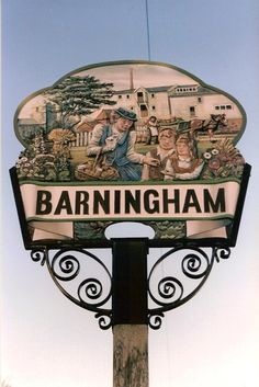 Barningham Village Sign A picture of: Barningham Green, Norfolk Pub Signs, Shop Signs, Pictures Of England, Great Yarmouth, Village People, Storybook Cottage, English Village, My Kind Of Town, Decorative Signs