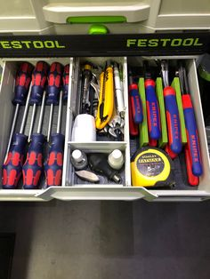 Tool Organization, Tool Storage, Systainer Festool, Van Shelving, Aircraft Maintenance, Garage Workshop, Toolbox, Joinery, Tool Kit