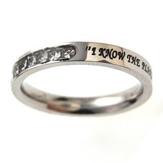 "Christian Women's Stainless Steel Absitnence Princess Cut ""I Know the Plans I Have For You"" Jeremiah 29:11 Comfort Fit 3mm Cubic Zirconium Chastity Ring for Girls - Girls Purity Ring - Stackable Spirit & Truth,http://www.amazon.com/dp/B004QYTURA/ref=cm_sw_r_pi_dp_FeInsb129R8GKDEW"
