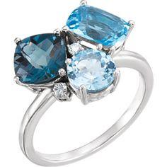 14kt White Swiss, London, & Sky Blue Topaz & .05 CTW Diamond Ring