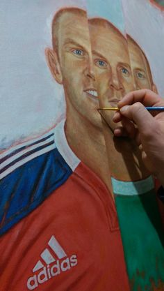 Paul O'Connell painting - next is to start adding more detail to the face(s).