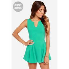 LULUS Exclusive Prep Rally Sea Green Romper ❤ liked on Polyvore featuring jumpsuits, rompers, green romper, short romper, playsuit romper, green rompers and sleeveless rompers