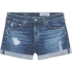 AG Jeans The Hailey 11 Years Sail Away Blue // Destroyed denim shorts (335 BRL) ❤ liked on Polyvore featuring shorts, bottoms, pants, jeans, destroyed denim shorts, ripped jean shorts, low rise denim shorts, distressed shorts and denim short shorts