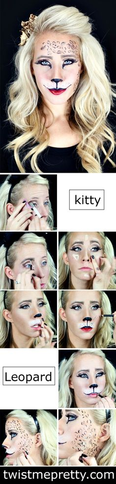 Ahhh, the prettiest kitty and leopard makeup I've seen yet.  Her DIY tutorials are so simple and easy to to follow.  I'm definitely going to try this for Halloween!