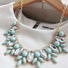 Mint Statement Fashion Necklace Turquoise