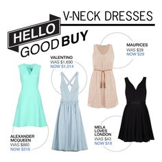 """""""Hello Good Buy: V-Neck Dress"""" by polyvore-editorial ❤ liked on Polyvore featuring McQ by Alexander McQueen, Valentino, maurices, Mela Loves London and HelloGoodBuy"""