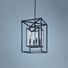 """Morgan 4-Light 16"""" Wide Deep Bronze Pendant Light"""