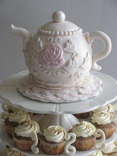 Tea pot cake with tiramisu teacups cupcakes! - cake by - CakesDecor Gorgeous Cakes, Pretty Cakes, Amazing Cakes, Tea Cakes, Cupcake Cakes, Shoe Cakes, Teacup Cupcakes, Fondant, Teapot Cake
