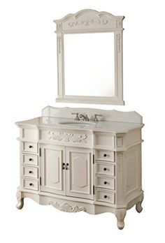 """42"""" Traditional Style Morton Bathroom sink vanity with matching mirror Model HF-2815W-AW-42 Chans Furniture"""