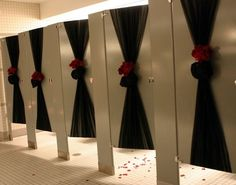 Love this idea to jazz up bathrooms if at a private reception hall!  Okay, so it's a little late.. but still!!