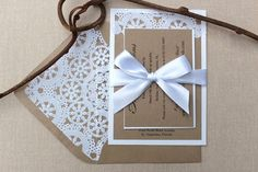 Wedding Invitations Lace Vintage Kraft and by AlexandriaLindo, $6.00