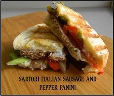 2 slices (1/2″) sourdough bread, 1/2 red bell pepper, julienne, 1/2 green bell pepper, julienne, 1/4 onion, sliced thin, 1/4 cup Sartori® Extra-Aged Asiago cheese, shredded , 3 tablespoons Mascarpone cheese, 1 teaspoon garlic, minced, 1 cooked Italian sausage, sliced thin. Sauté vegetables. In a separate bowl, mix the cheeses to form a spread and smear on inner sides of bread.  Assemble sausage & vegetable mixture onto sandwich.  Cook in Panini press for 5 min.