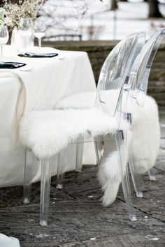 i love: • ghost chairs • the pelts • the cable knit table runner