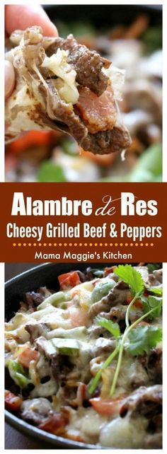Alambre de Res - Cheesy Grilled Beef & Peppers