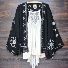 boho embroidered kimono jacket - black - shophearts - 1