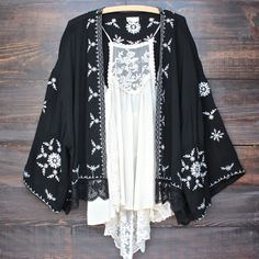 boho embroidered kimono jacket - black