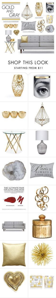 """""""Gold and Gray"""" by lgb321 ❤ liked on Polyvore featuring interior, interiors, interior design, home, home decor, interior decorating, AERIN, Fornasetti, Aidan Gray and Jamie Young"""