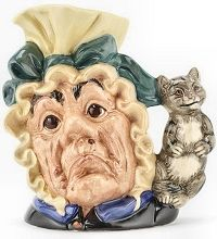 Royal Doulton Burslem, Character Jug/Toby MugThe Cook and The Cheshire Cat, a Colour Variation Large Size Character Jug, circa 1990 with yellow hat and green bow. (1500q)  http://www.rubylane.com/shop/thegryphonsnest/ilist/,cs=Pottery:By+Maker:Royal+Doulton.html