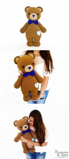 CROCHET PATTERN – Billy the Friendly Bear – Amigurumi – Make your own in. Crochet Amigurumi, Crochet Teddy, Crochet Bear, Amigurumi Patterns, Crochet Dolls, Crochet Patterns, Crochet Crafts, Crochet Projects, Confection Au Crochet