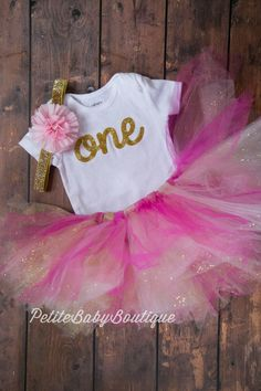 Pink and Gold First Birthday Outfit! Pink and Gold tutu Pink and Gold Headband by PetiteBabyBoutique on Etsy https://www.etsy.com/listing/514565799/pink-and-gold-first-birthday-outfit-pink