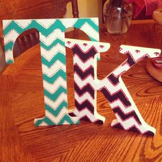 Chevron & rhinestone wooden letters. DOING IT THIS YEAR!