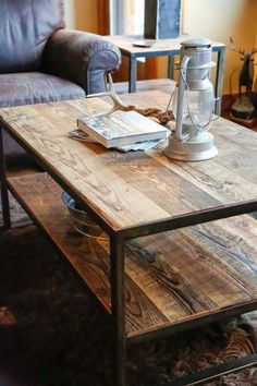Rustic Steel & Reclaimed Barn Wood Coffee Table, Vintage Industrial Chic, Side…
