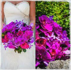 Purple orchids, roses, bridal bouquet. Muskoka, Barrie, GTA