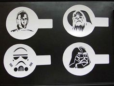 Cookie Stencil Star Wars Latte Stencil Cake duster templates Icing CoCoa coffee