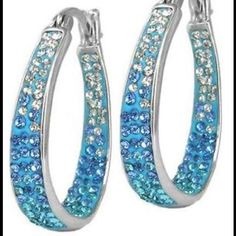 18 Kt White Gold-Plated Austrian Crystal Hoops