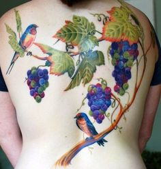 Painterly style back piece, grape tattoo