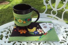 Mug Rug with matching tea or coffee mug wrap.