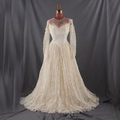 VINTAGE 50s SATIN PRINCESS Sheer LACE Wedding DRESS S | eBay
