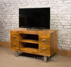 Lovely Mango Wood Tv Cabinet On Steel Legs 299