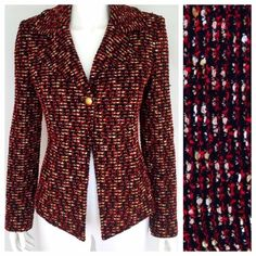 Like ST. JOHN Red/Black/Gold Tweed Caviar Jacket Absolutely GORGEOUS piece from St. John's Fall 2011 collection. So chic and flirty. No defects. Style number FA 11 GRP 0 Don't like the price? Make a *reasonable* offer ☺️ St. John Jackets & Coats