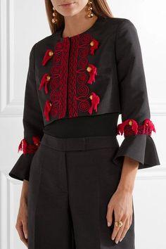 Oscar de la Renta - Tasseled Embroidered Silk-faille Jacket - Black