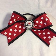 Red, black and white polka dot I <3 cheer bow #bjsbowbows #bow #hairbow #cheerbow #cheerleader #ilovecheer #polkadots
